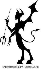 Black silhouette illustration of a devil with wings and a pitchfork