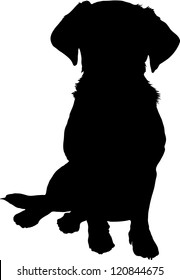 A black silhouette image of a puppy sitting facing the viewer.