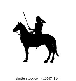 Black silhouette of indian on horse. Isolated image of western rider with spear. American landscape. Vector illustration