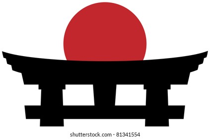 Black silhouette of a japanese religious goal against the rising red disc of the sun