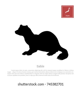 Black silhouette of a japanese sable on white background. Animals of Japan. Vector illustration