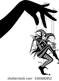 Black silhouette of Joker playing card as puppet suspended from the fingers isolated on white. Vector illustration