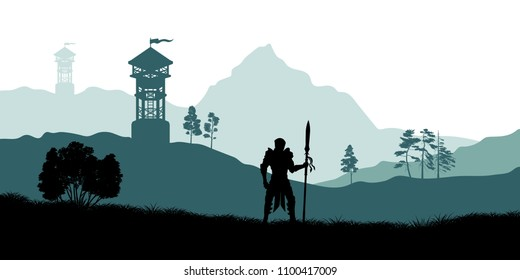 Black silhouette of knight on background of archers tower. Fantasy landscape. Medieval panorama. Scene with battle watchtower. Vector illustration