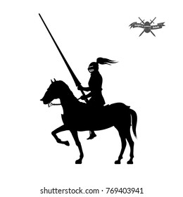 Black silhouette of knight on white background. Detailed image of rider with spear and armor. Logo of medieval tournament. Vector illustration