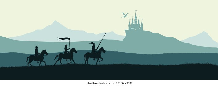 Black silhouette of knights on background of castle attacked by dragon. Fantasy landscape. Medieval panorama. Vector illustration