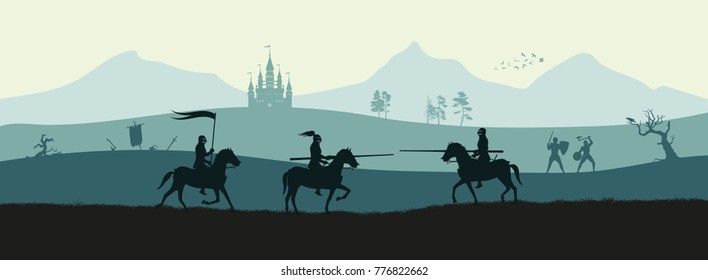 Black silhouette of knights on background of medieval battle. Fantasy landscape. Combat panorama. Vector illustration