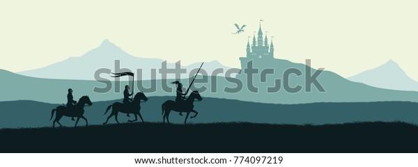 Черный силуэт рыцарей на фоне замка напал дракон. Фантастический пейзаж. Средневековая панорама. Векторная иллюстрация