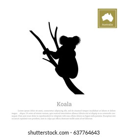 Black silhouette of koala on white background. Animal of Australia. Vector illustration
