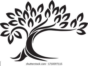 Black Silhouette Large Tree into wind with beautiful leaf and leaves vector graphic design