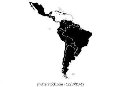 Black silhouette of Latin America.