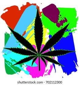 Black silhouette of leaf of marijuana on colorful rainbow background. Vector illustration