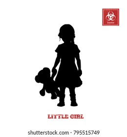 Black silhouette of little girl on white background. Character for computer game or thriller. Vector illustration