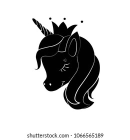 Black silhouette of little unicorn with crown  on white background. Vector illustration. Black shape of unicorn's head. Graphic badge, banner, icon, print or logo.
