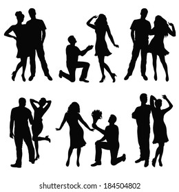 Black silhouette of lovers couple. Vector illustration