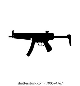 Black silhouette of machine gun on white background. Weapons of police and army. Vector illustration