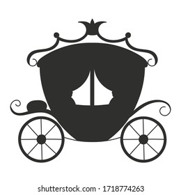 Black silhouette. Magic carriage. Vector illustration isolated on white background. Design element. Template for your design, books, stickers, posters, cards, child clothes.