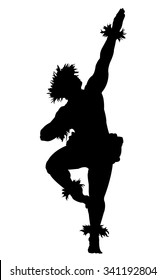 A black silhouette of a male Hula dancer on a white background