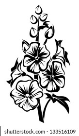 Black silhouette of mallow flowers. Vector illustration.