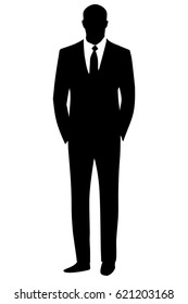 Black silhouette man businessman in a simple business suit. Vector illustration.