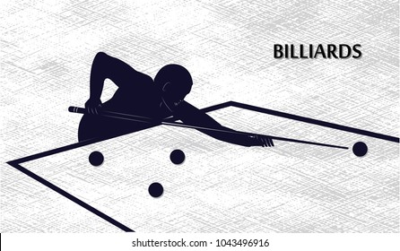 Black silhouette of man with cue - billiard table with balls - isolated on white background - art vector illustration