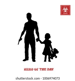 Black silhouette of man with gun and little girl on white background. Bodyguard protecting the child. Zombie shooter. Character for computer game or thriller. Vector illustration