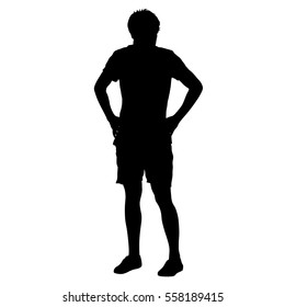Black silhouette man holding hands on his hips. Vector illustration