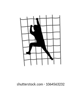 Black silhouette of a man overcoming the obstacle. Obstacle race symbol. Vector illustration.