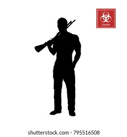 Black silhouette of man with shotgun on white background. Zombie shooter. Character for computer game or thriller. Hunter with rifle. Vector illustration