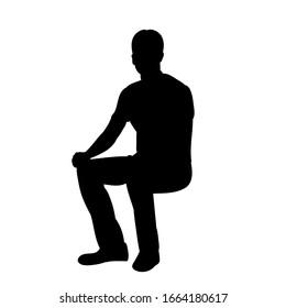 black silhouette man, sitting, guy