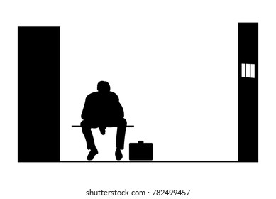 Black silhouette of a man sitting  in jail, vector illustration