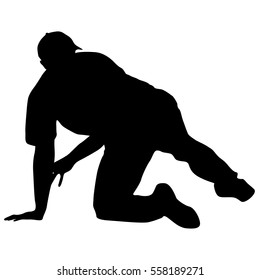 Black silhouette man sitting on the floor. Vector illustration