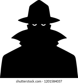 Black Silhouette Man in a Trench Coat and Hat only eyes showing