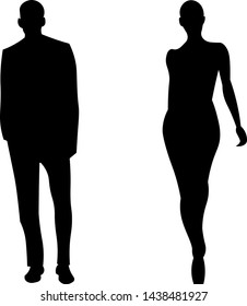 Black silhouette of a man and woman.
