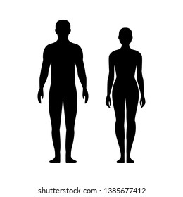 Black silhouette of a man and a woman. Male and female gender. Body silhouettes for medicine.