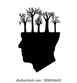black silhouette of a man's head from which trees grow. the concept of genius, rich imagination, healthy mentality, thought and concern about ecology