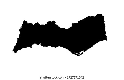 black silhouette of a map of the Algarve city in southern Portugal on a white background