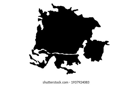 black silhouette of a map of the city of Padova in italy on a white background
