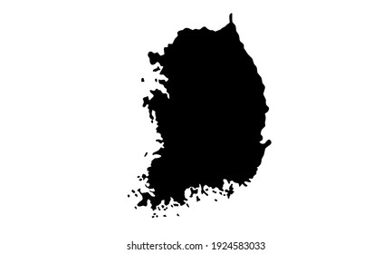 Black silhouette of a map of the country of South Korea in East Asia on a white background