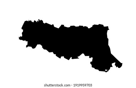 Black silhouette of a map of Emilia-Romagna in Northern Italy. on a white background