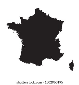 Black silhouette of the Map of France on the white background