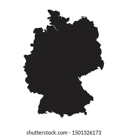 Black silhouette of the Map of Germany on the white background