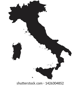 Black silhouette of the Map of Italy on the white background