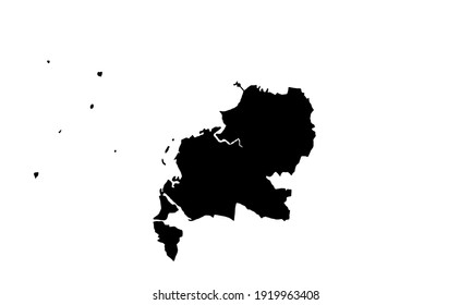 black silhouette of a map of Makassar in South Sulawesi, Indonesia, on a white background