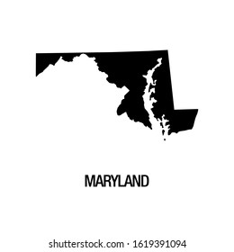 Black silhouette of the map of Maryland State on the white background