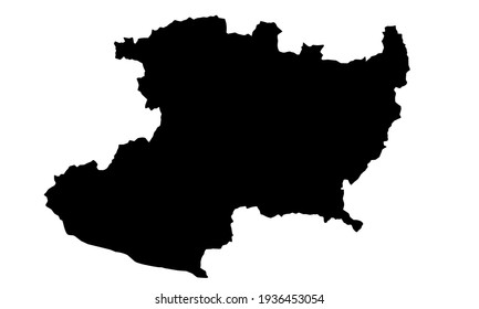 black silhouette of a map of the Michoacan country in Mexico on a white background