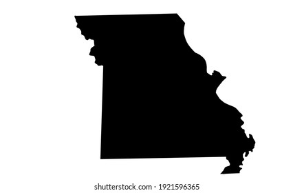 black silhouette of map of Missouri in USA on white background