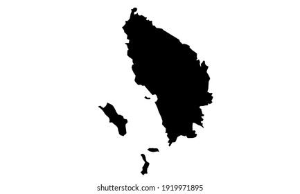 black silhouette of a map of the province of North Sumatra in Indonesia on a white background
