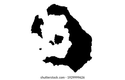 black silhouette of map of Santorini in Greece on white background
