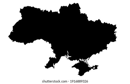 black silhouette of map of Ukraine in Europe on white background