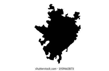black silhouette of map of Yucatan state in Mexico on white background